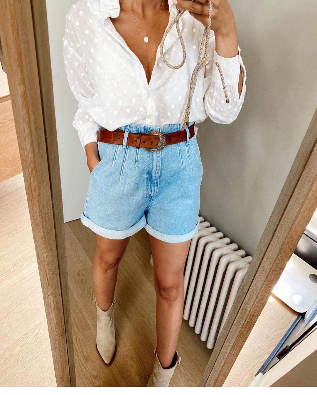short en jean à taille plissée de Zara sur zara.outfits