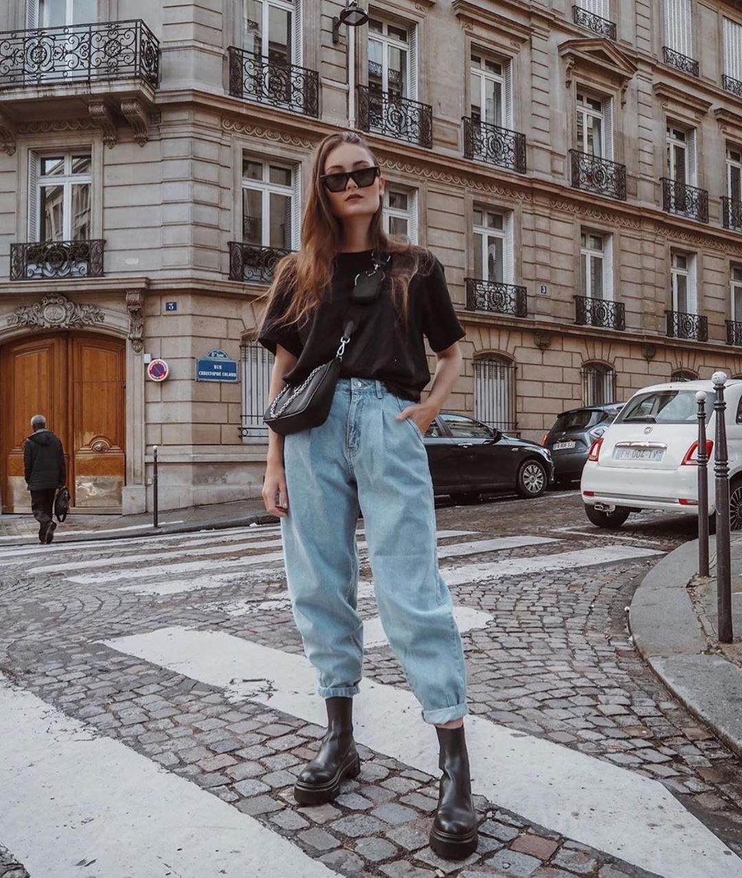 jean taille haute ballon à revers de Zara sur zara.outfits