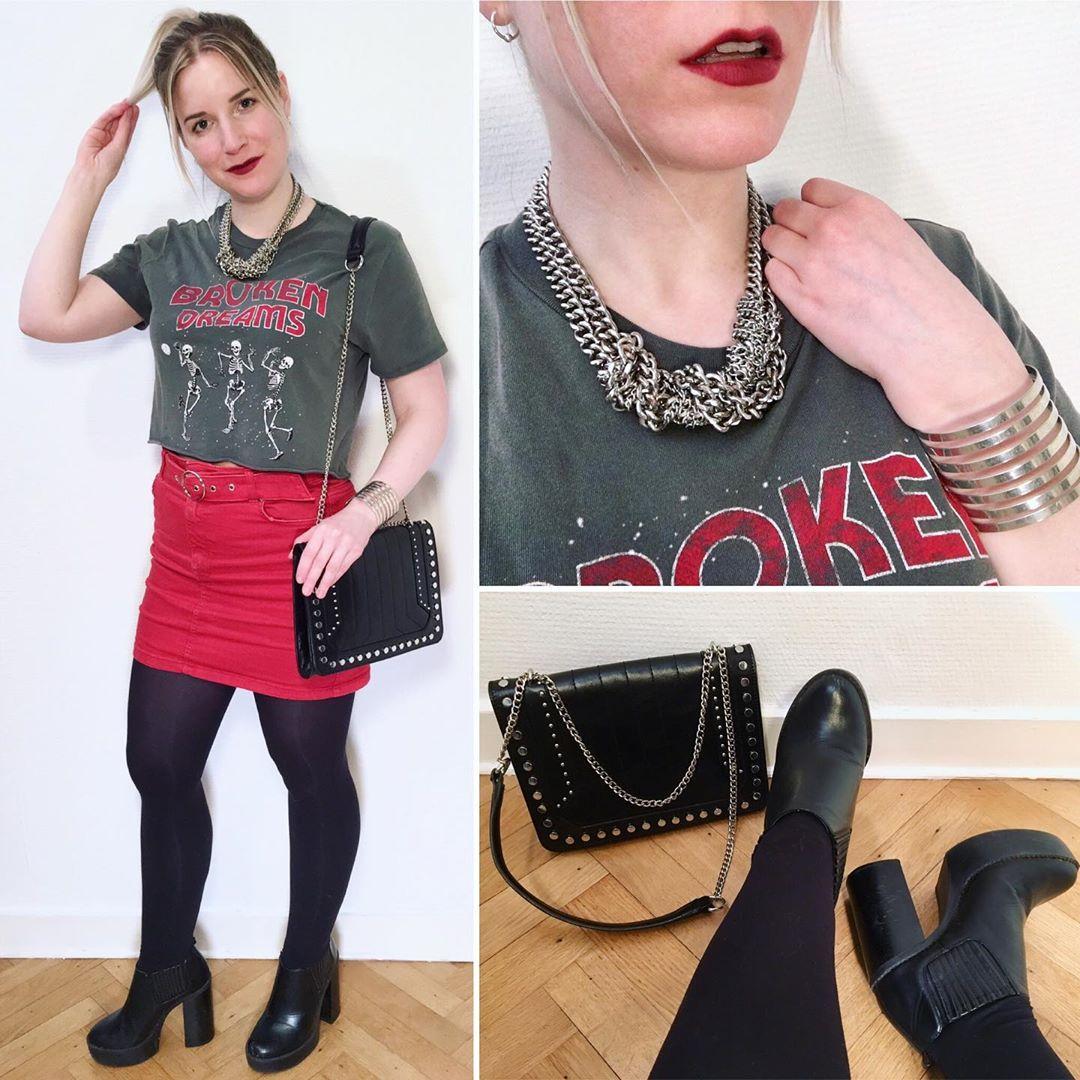 mini skirt with belt de Bershka sur ixelloisechic