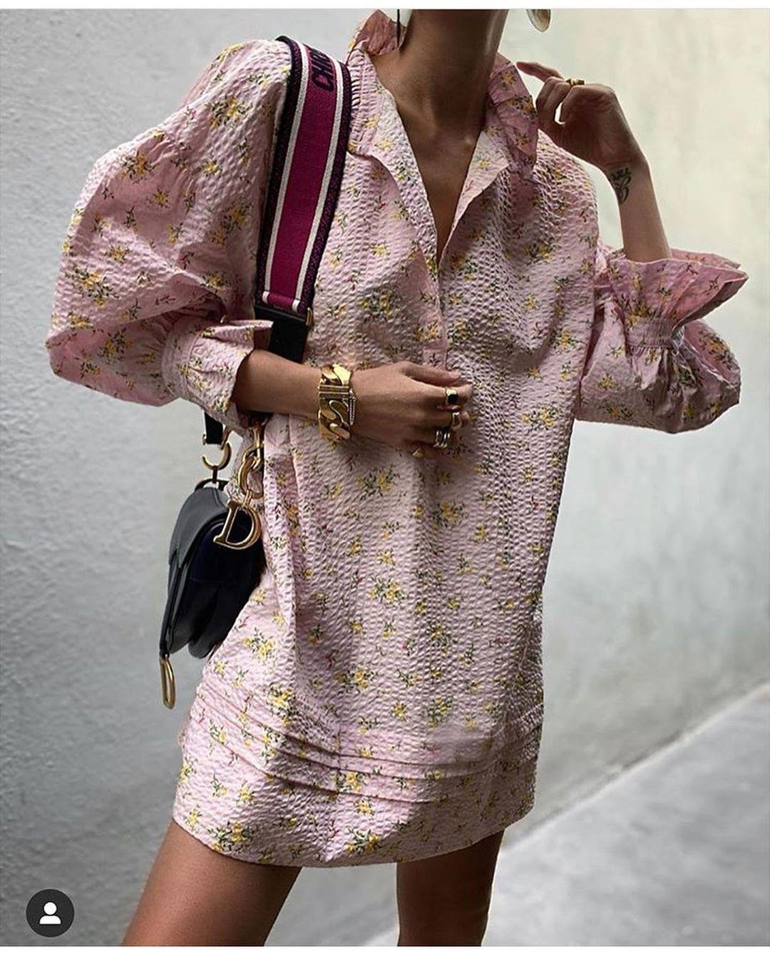 printed shirt dress de Zara sur look_by_zara_hm