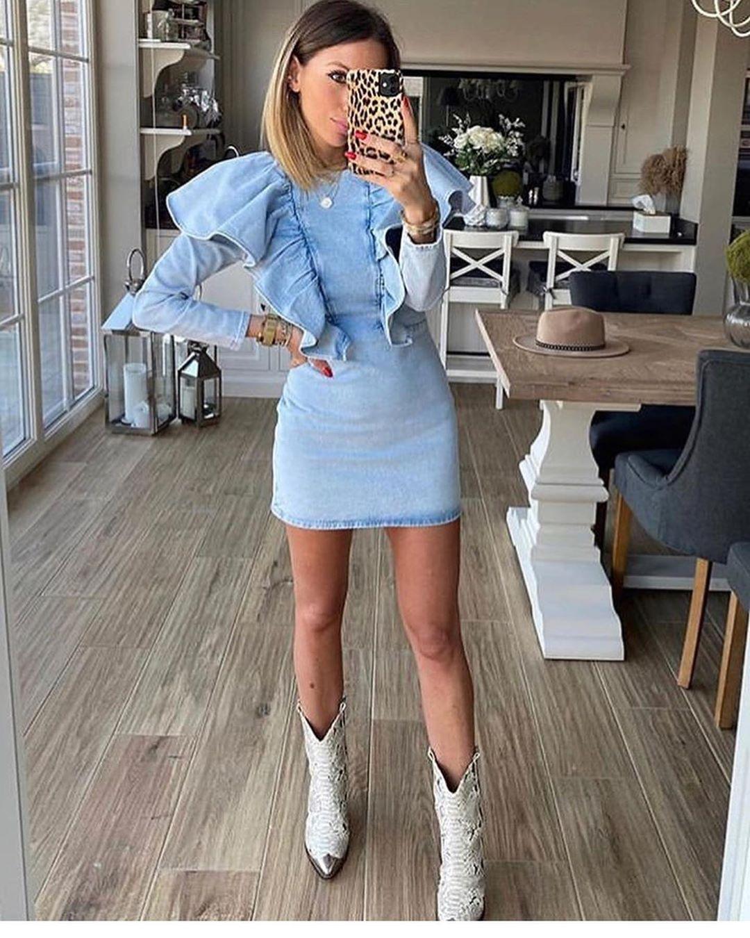 ruffled denim dress de Zara sur look_by_zara_hm