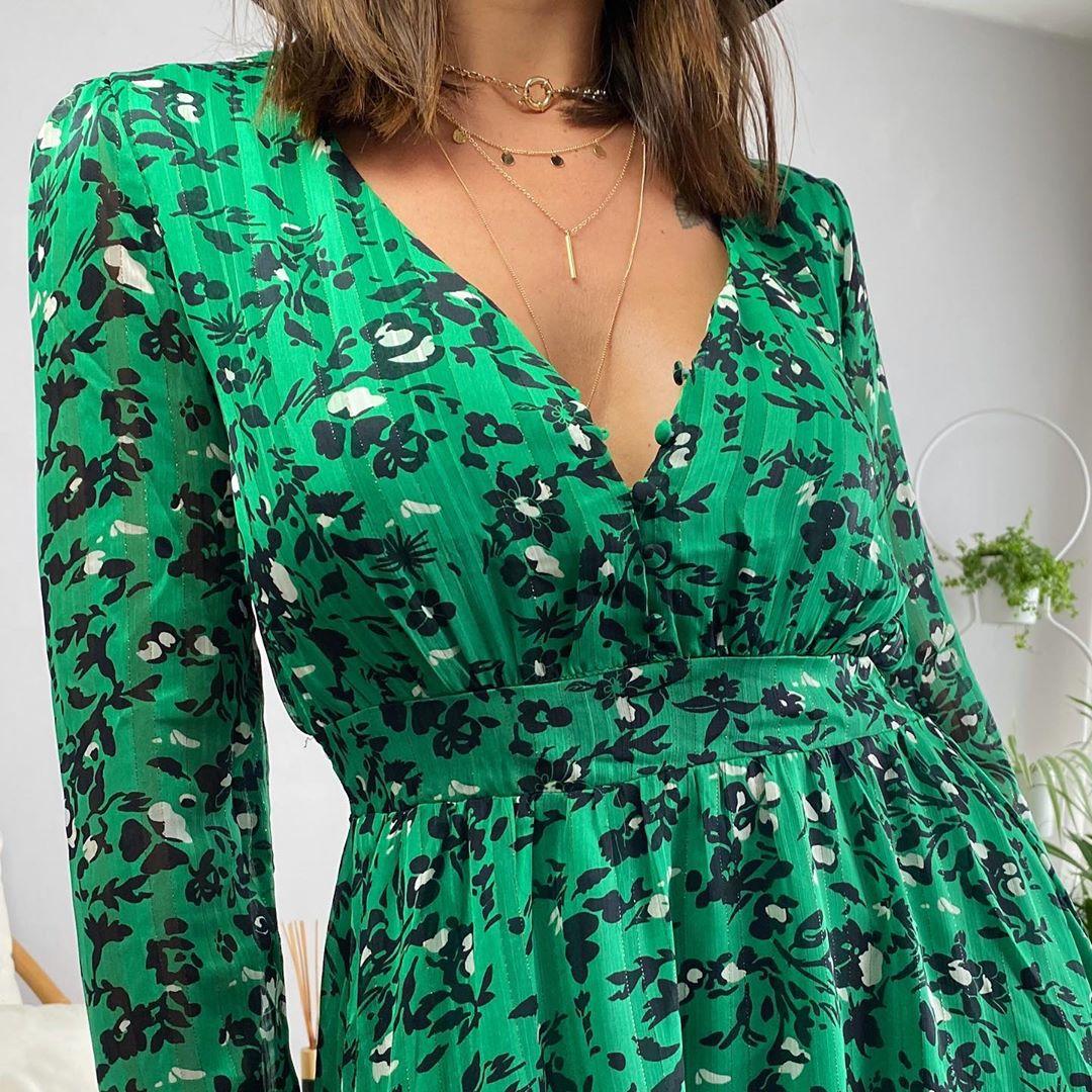robe a volant verte de Les Bourgeoises sur lesbourgeoisesofficiel