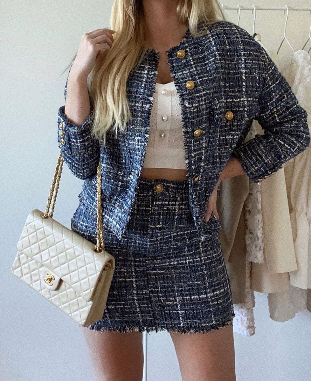 tweed mini skirt de Zara sur zarastreetstyle