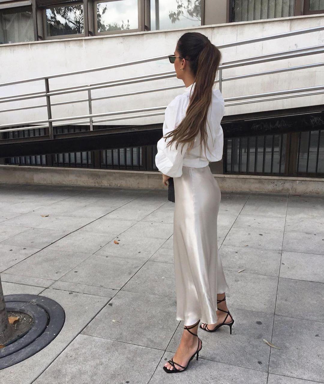 satin skirt de Zara sur zaraaddiction