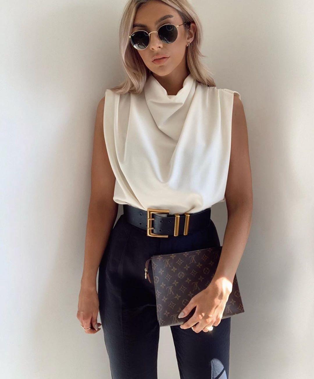 pantalon taille haute avec ceinture de Zara sur zara.outfits